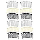 Frcolor Peigne à cheveux en métal créatif cheveux accessoires peigne clip avec des dents pour les femmes, 12pcs (argent, or, noir)