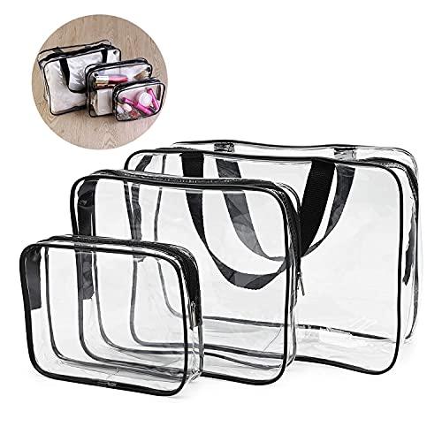 Dingzing 3 Pièces Trousse de Toilette Transparente, Étanche Sac de Maquillage PVC, Sac Cosmétique Organisateur Multifonction Kit pour Chaussures, Sac de Voyage Multi-Tailles