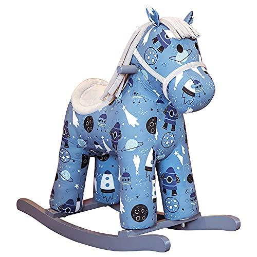Tritow Rocking Horse Wooden Rocking Chair Baby Universe Pony Ride On Toys Plush Comfortable Seats Kids Plush Rocking Horse Infant (Boy Girl) Plush Animal Rocker For Toddlers 2-5