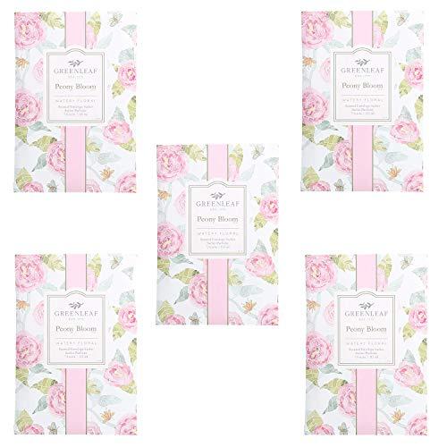 5 x Greenleaf – Pivoine Peony Bloom – Sachet Parfumé pour armoires | Paquet de 5 sacs 11,5 x 17 cm | Senteurs et Parfums pour la maison