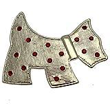 Acosta broches–Color Plateado con Cristal Rojo diseño de Terrier escocés Scottie Perro Broche–en Caja de Regalo