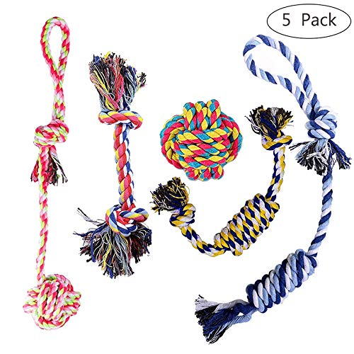 Femonden Pets Puppy Rope Toys,Dog Teething Toys, Chew Toys for Small to Medium Dogs (5-Pack)