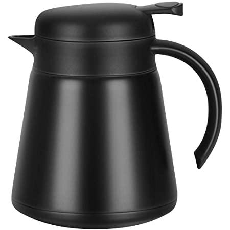 Luvan 304 18/10 27Oz 800ml Stainless Steel Thermal Carafe/Double Walled Vacuum Insulated Coffee Pot with Press Button Top,12+ Hrs Heat&Cold Retention,BPA Free,for Coffee,Tea,Beverage etc (black)