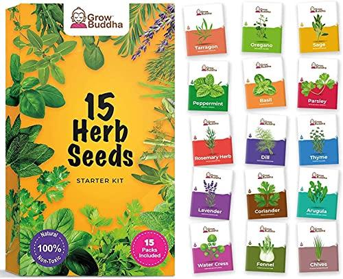 Set di semi di erbe da Grow Buddha -15 varietà di tue erbe fresche con il nostro mix di semi di erbe - Grow Buddha | Idea regalo
