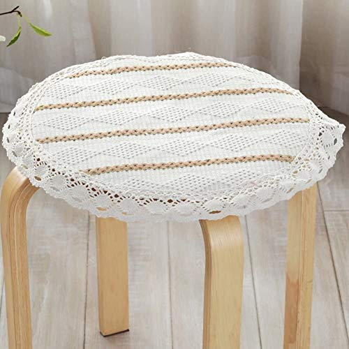 Set Of 4 Chair Cushions Round Non Slip Seat Cushion Lace Cotton Linen Seat Pad Round Four Season Round Stool Cushion Yoga Meditation Balcony Office (Color : L, Size : Diameter:30cm(12inch))
