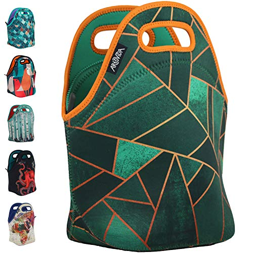 Art of Lunch by ARTOVIDA Insulated Neoprene Lunch Bag for Women, Men and Kids - Reusable Soft Lunch Tote for Work and School - Design by Elisabeth Fredriksson (Sweden) - Emerald & Copper