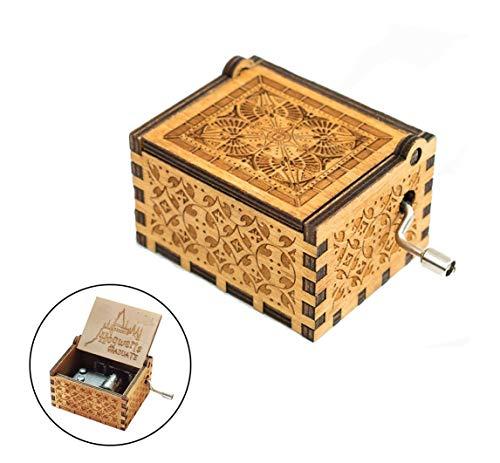 Evelure Caja de música Harry P Crank Music Boxes en Madera Antigua Tallada para cumpleaños Infantiles (B-Wood)