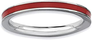 Lex & Lu Sterling Silver Stackable Expressions Red Enamel Ring LAL7574