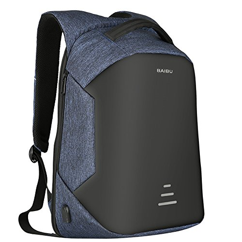 Anti-theft Waterproof Travel Laptop Computer Backpack. Business Laptop knapsack Equipped with USB Charge Port, Slim Travel Water Resistant Notebook Bag for Students and Workers Fits 15.6 in (Blue)