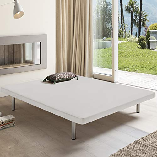 Komfortland Base tapizada 3D One Medida 150x200 cm Color Blanco (Patas 25 cm - Normales de Regalo)