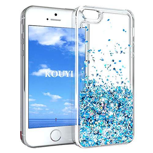 KOUYI Cover iPhone 5/5S/SE, 3D Glitter Chiaro Liquido Silicone TPU Telefono Cellulari Protezione Cover,3D Bling Protettiva Case Custodia per Apple iPhone 5/iPhone 5S/iPhone SE (Blu Argento)