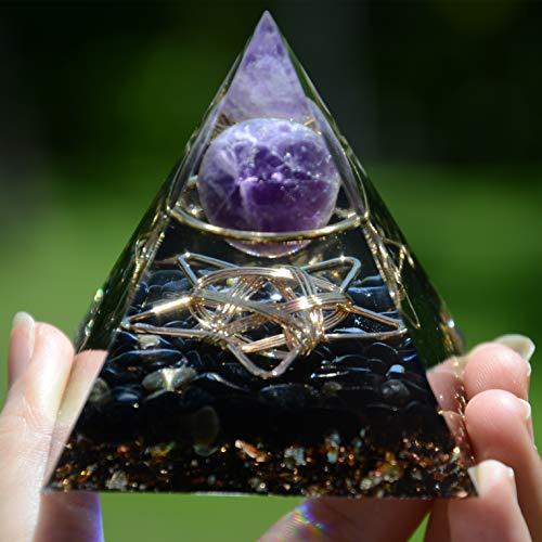 Amethyst-Kugel mit Fünf-Sterne-Obsidian-Orgonit-Pyramide, Reiki-Heil-Chakra-Meditationswerkzeug