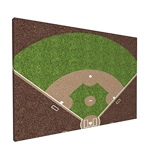 PATINISA Cuadro en Lienzo,Una vista aérea de un campo de béisbol americano con marcas blancas pintadas sobre césped y grava,Impresión Artística Imagen Gráfica Decoracion de Pared