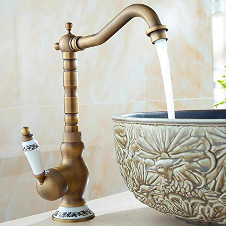 Decorry Bathroom Basin Faucet Antique Tap Vintage Kitchen Sink Tap Decorative Ceramic Brass Tap Basin Mixer Water Bronze Faucet B5,Antique Brass,High