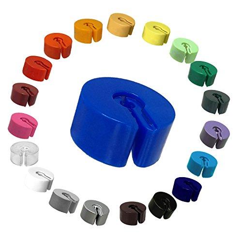 Kunststofftechnik Vlotho - Der Original Größenfinder: Modell Größenring, unbedruckt zur Markierung von Kleidungsstücken auf Kleiderbügel, Farbe frei wählbar, 25 Stück je Farbe