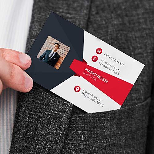 Biglietto da Visita con Foto 100 pz Personalizzato su Cartoncino Stampa a Colori solo Fronte (F)