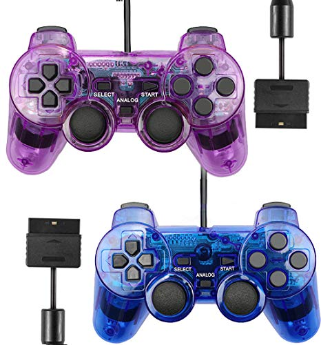 Wired Controller for PS2 Playstation 2 Dual Shock(Pack of 2,ClearPurple and ClearBlue)