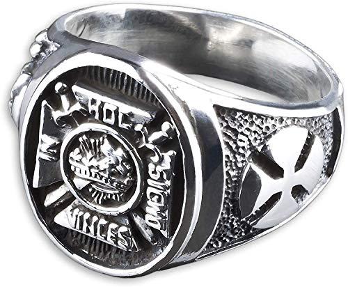 viva adorno Herren Ring Freimaurer IN HOC SIGNO VINCES Totenkopf Eisernes Kreuz Siegelring 925 Sterlingsilber SR35, Gr. 75