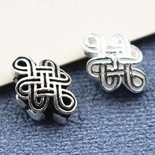 GZMUS S925 Silver Chinese Knot Back Cloud Bead Spacer Loose Beads Feng Shui Charms for Bracelets DIY Crafting Jewelry Making Bulk Attract Money Accessories Necklaces for Good Luck Wealth,Black
