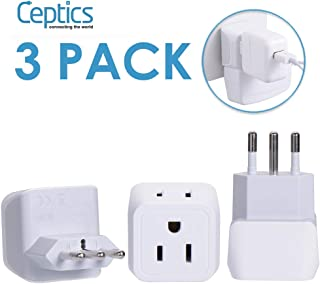 Italy, Chile Travel Adapter Plug by Ceptics with Dual USA Input - Type L (3 Pack) - Ultra Compact - Safe Grounded Perfect for Cell Phones, Laptops, Camera Chargers and More (CT-12A)