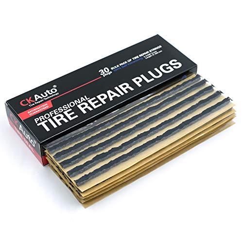CKAuto 30pcs 8' Black Tire Repair Strings, Automotive Tool Tire Repair Plugs for Tubeless Off-Road Tires Car, Bike, ATV, UTV, Wheelbarrow, Mower