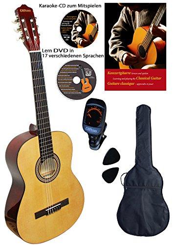 Clifton 4/4 Konzert-Gitarre Natur, Set mit Buch, CD, DVD, Stimmgerät, laminierte Fichtendecke, Plectren, gepolsterte Tasche …