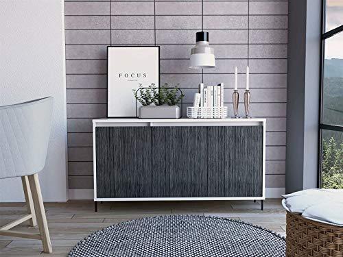 GXK White Sideboard Cupboard Cabinet 3 Grey Oak Effect Doors and 2 Internal Shelves