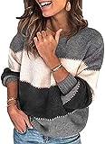 ASKSA Jersey de manga larga para mujer, elegante, a rayas, patchwork, cuello redondo, jersey suelto, parte superior para otoño e invierno gris L