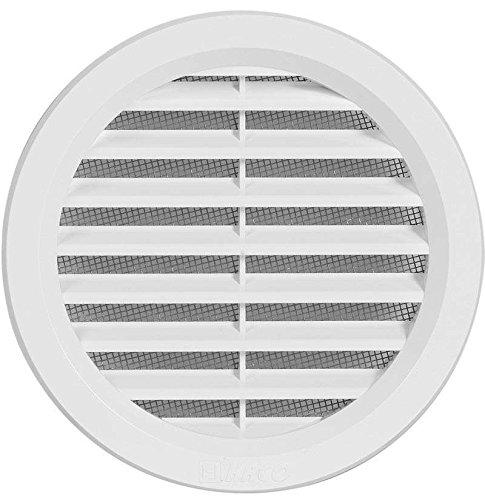 Griglia rotonda per ventilazione, in plastica, con flangia, bocchettone e protezione dagli insetti, dimensione coperchio: 130 mm (VM110)