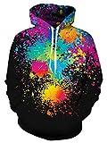 Unisex Black Paint Fleece Hoodie 3d Print Rainbow Tie Dye Cool Pullover Hooded Sweatshirt