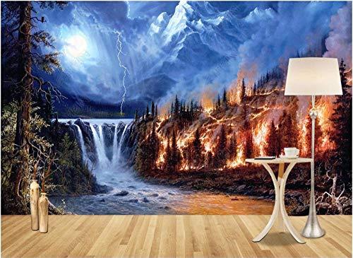 Papel De Pared 3D Tnt Murales Fondo De Arte Creativo De Montaña De Nieve De Cascada De Bosque Ardiente Papel Pintado Pared Foto Mural Pared Decorativos 350X245Cm