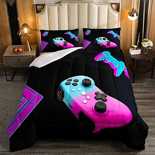 Juego de edredón de tamaño doble, regalo de Navidad, juego de cama para niños, adolescentes, niños, hombres, videojuegos, juego de edredón para decoración de dormitorio, negro, azul y morado claro