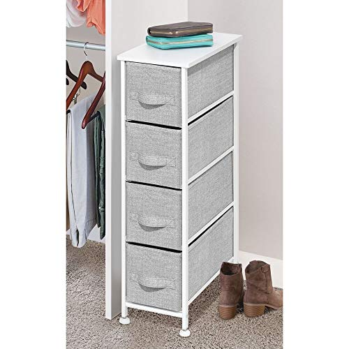 mDesign Modern 4 Drawer Tall Storage Tower Organizer Nightstand, Side/End Table Narrow Wardrobe Accessory Cabinet, for Bathroom, Closet, Living Room, Small Space Decor - Gray/White