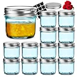 LovoIn 12 Pack 4 oz Regular Mouth Glass Jars with Silver Metal Airtight Lids, Fashioned Mason Jars for Baby Foods, Jams, Jellies, Fruit Syrups, Body Milk, Pizza Sauce - Blue
