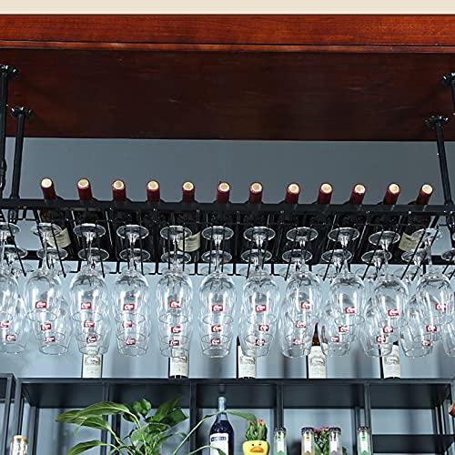 botellero Vino Botellero para Vinos de Barra de Bar, Estante de Copa de Vino Colgante de Hierro de Estilo Simple, Estante de Vino de Hierro Forjado de Restaurante, Gabinete de Vino