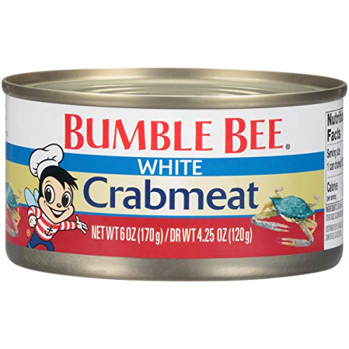 BUMBLE BEE Crab Meat, White, 6 Ounce Cans, High Protein Food and Groceries, Keto Food, Gluten Free, High Protein Snacks