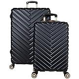 Kenneth Cole Reaction Women's Madison Square Hardside Chevron Expandable Luggage, Black, 2-Piece Set (20' & 28')