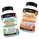Immunity Boost Supplement with Elderberry, Vitamin A, Echinacea & Zinc + Vitamin C 1000mg Capsules with Zinc, Rose Hips & Bioflavonoids - Provides Enhanced Immune Support