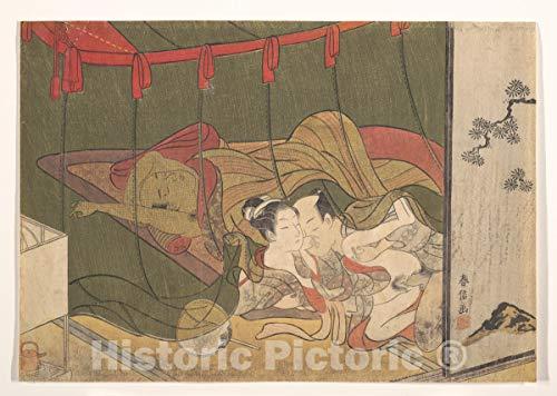 Historic Pictoric Art Print : Suzuki Harunobu - Lovers Beneath a Mosquito Net - Japan : Vintage Wall Décor : 36in x 24in