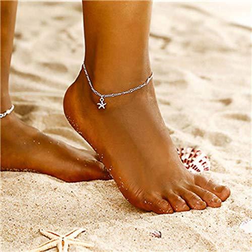 Yean Pulsera de tobillo con colgante de estrella de mar de plata para mujeres y niñas