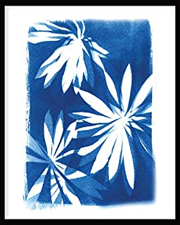BIRD'S MIND Beautiful Blue Art Flower Synthetic Wood Photo Framed Hanging Bedroom Home Office Living Room Wall Art Frames ...
