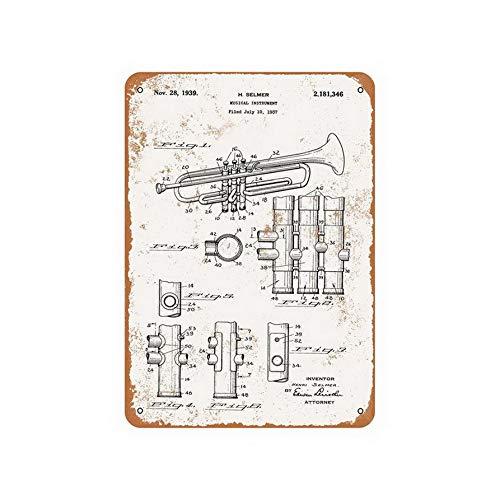 ABLERTRADE Tablradate 1939 Selmer Trompete Patentschild aus Metall, Vintage-Stil, 20 x 30 cm