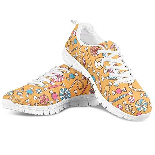 POLERO Zapatillas de deporte para mujer, zapatillas de deporte, para correr, fitness, transpirables, para el tiempo libre, 35-48 EU, Caramelos multicolor 1, 46 EU