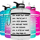 HydroMATE 1 Gallon Motivational Water Bottle with Time Marker Large BPA Free Jug with Straw & Handle Reusable Leak Proof Bottle Time Marked Drink More Water Daily Hydro MATE 128 oz Clear