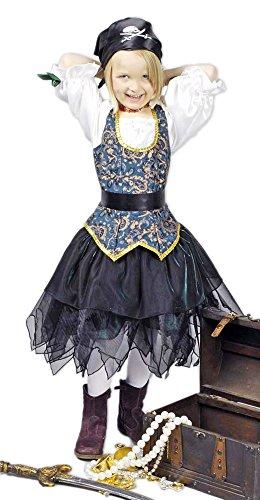 Körner Festartikel Piratin Angelica Seeräuberin Kostüm für Kinder Gr. 116 128 - Tolles Piraten Seeräuber Kostüm für Mädchen zu Karneval und Mottoparty