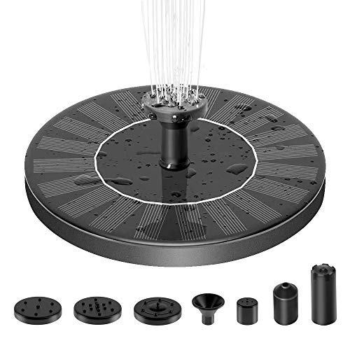 Solar Fountain Pump, 1.4W Solar Fountain for Bird Bath Free Standing Floating Water Fountain with 7 Nozzles Solar Powered Fountain Pump for Bird Bath, Garden, Pond, Pool, Outdoor