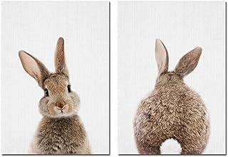 لوحة فنية جدارية على شكل ذيل أرنب أرنب صورة حيوانات الغابة ملصق قماش كتاني لغرفة الأطفال طباعة الحد الأدنى من الرسم الشمال...