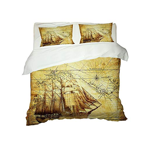HJKGSX Duvet Cover Set Bedding 3 Pieces Microfiber Polyester Quilt Cover with 2 Pillow Cases Easy Care Anti Allergic Soft Smooth Map sailboat78.7 x 78.7inch - Double