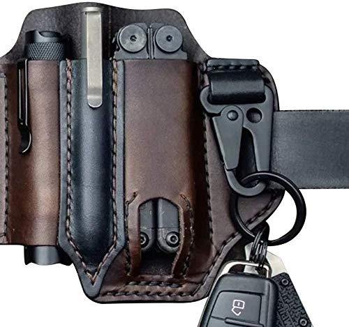 Leather Multitool Sheath for Belt, EDC Pocket Organizer with Key Holder, Storage Belt Waist Bag Flashlight Holster, Multitool Pouch for Men Camping (Dark Borwn)