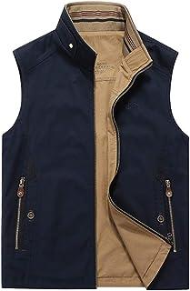 ポケットベストカジュアルベスト両面メンズベストアウトドア釣り写真ベストルーズ大きいサイズのコットンジャケット (色 : Dark blue, サイズ さいず : 4XL)